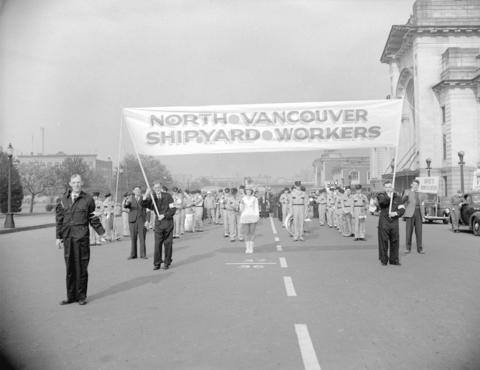 CVA-586-1024-North Vancouver Shipyard Workers [in parade]-1943_