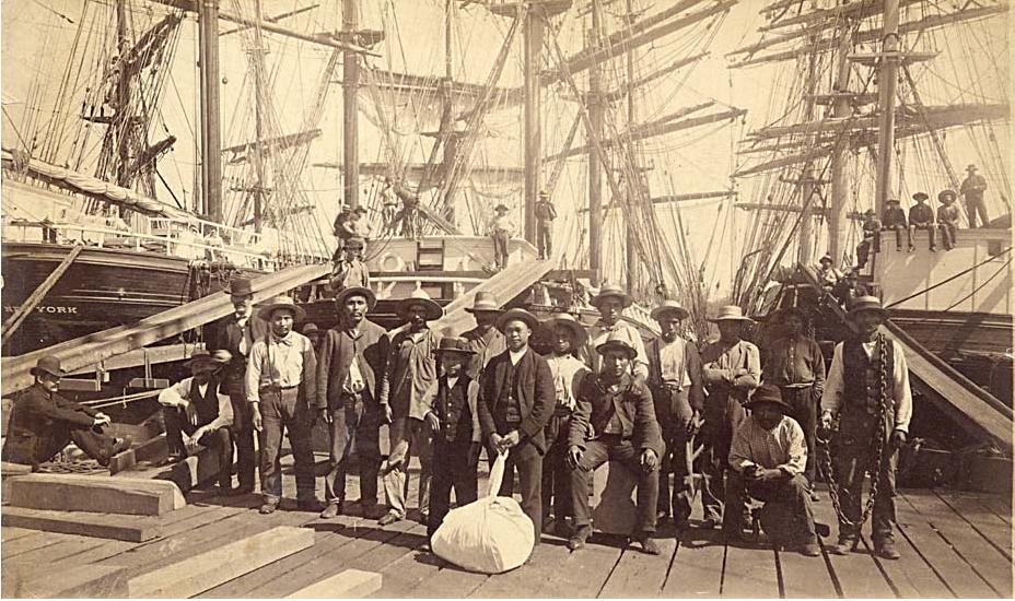 CVA-William Nahanee with a group of longshoremen--1889