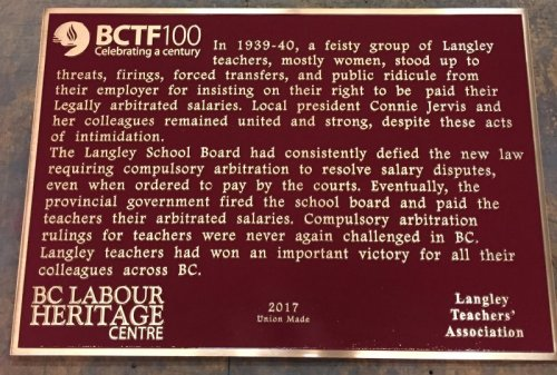 Langley teachers plaque
