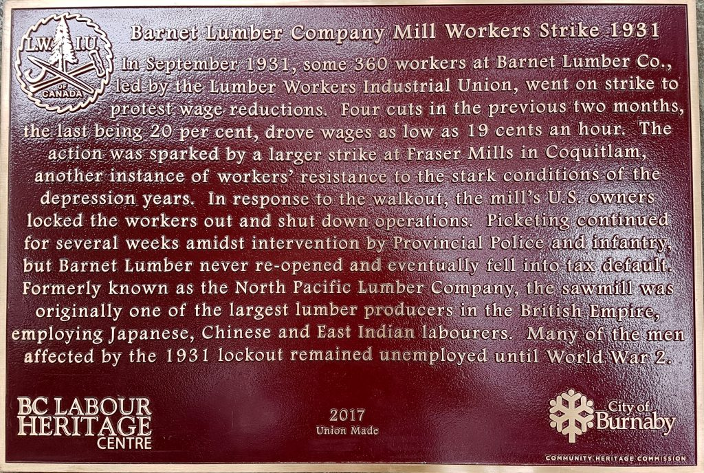 Lumber Workers Industrial Union and Barnet Strike of 1931